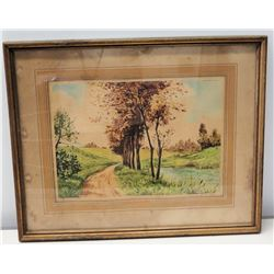 Original Watercolor, Dirt Road Lined with Trees, Artist Signed