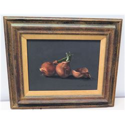 "Framed Acrylic on Canvas, Still Life with Onions, Signed by Artist Roberto Lupetti 24.5"" x 20.5"""