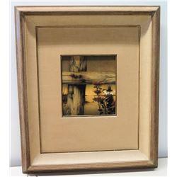 Framed Art: Wooden Fencepost and Flower at Dusk, Artist Signed