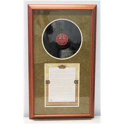 Framed Vinyl Record  Back Home Again in Indiana  (circa 1946) Presented to Jim Nabors by Kay Nichols