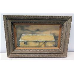 Framed Art, Frontier Cabin on Hoists, Artist Unknown
