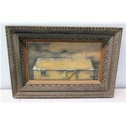 "Framed Art, Frontier Cabin on Hoists, Artist Unknown, 28.5"" x 19"""