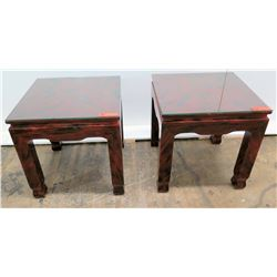 Pair of Lacquer-Enameled Side Tables w/ Glass Tops