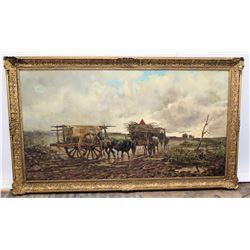 "Framed Original Art, Winter Landscape w/ Two Ox-Drawn Carts by Leopoldo Marioni 87"" x 51.5"" (frame s"