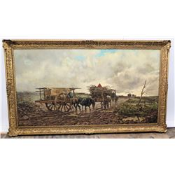 Large Framed Original Art, Signed, Artist Leopoldo Mariotti (Roma), Two Ox-Drawn Carts 87  x 51.5  (