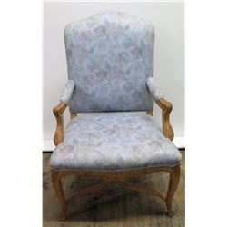 "Silk Upholstered Wood Chair, Carved Details, 45"" Back Ht."
