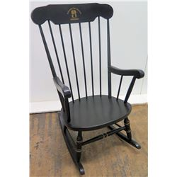 """""""The Jim Nabors Chair"""" Black Rocking Chair, Presented by Sylacauga City Schools Foundation 2003"""