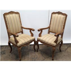 Pair of Upholstered Wood Armchairs, Carved Details, Cabriole Legs