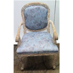 Silk Upholstered Wooden Armchair, Whitewashed, Carved Details 40 H, Seats 24 W
