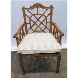 Carved Antique Wood Armchair with Fretted Back, Cane Rattan Seat