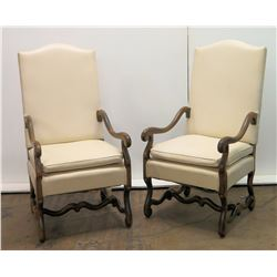 Pair of Antique Walnut Chairs, Upholstered White Vinyl, Serpentine Details 45  Back Ht.