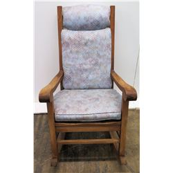 Koa Wood Rocking Chair w/ Scroll Armrests (by Martin & McArthur) 44  Back Ht.