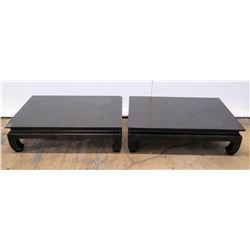 Qty 2 Black Lacquered Oriental Coffee Tables (some damage)