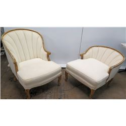 Tufted Ivory Upholstered Settee and Ottoman
