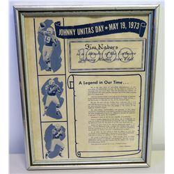 Framed Johnny Unitas 1000 Club, Naming Jim Nabors as Member