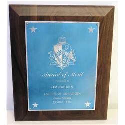 Merit Award Plaque Presented to Jim Nabors from Knights of Ak-Sar-Ben, Nebraska, 1975