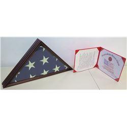 U.S. Flag & 2007 Certification of U.S. Flag Flown Over Pacific War Memorial, etc, 2007