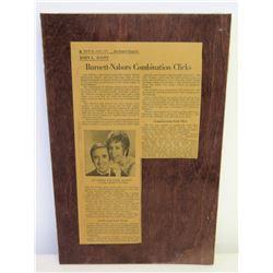 Jim Nabors & Carol Burnett L.A. Times Newspaper Clip on Wood Plaque, 1970