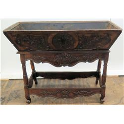 "Antique Carved Wooden Plant Stand 47"" x 20.5""D x 38""H"