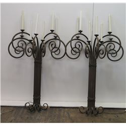 "Pair of Tall Cast Iron Wall-Mount Candelabra 59""H, Approx. 35""W"