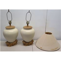 """Pair of Milk White Urn Ceramic Lamps, w/ Natural Wood Base & Top Fittings 32""""H"""