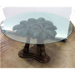 "Wooden Table Base w/ Synthetic Palm Leaves, Round Glass Top, 54"" Dia, 24""H"