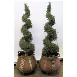 "Pair of Ornamented Copper Baskets w/ Faux Topiary, 15"" Top Dia., 18""H"