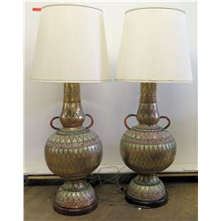 "Pair of Large Painted Lamps w/ Metal Overlay, 57""H"