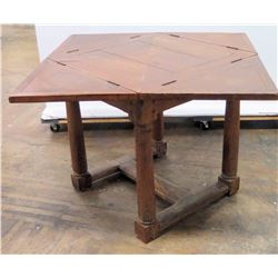 "Antique Geometric Table with Folding Corners (40""x 40 unfolded, 30""H)"