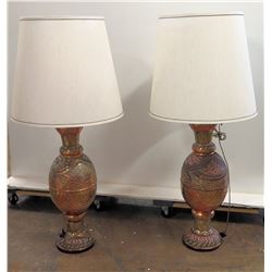 Pair of Brass Urn Lamps