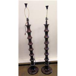 Pair of Espresso Pillar Lamps