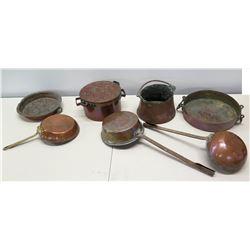 Misc. Copper Pots, Pans, Vessels, etc.
