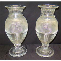 Pair of Crystal Urn Vases