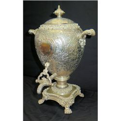 "Antique Coffee Urn with Relief Detail 19""H"