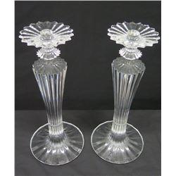Pair of Baccarat Crystal Pillar Candleholders