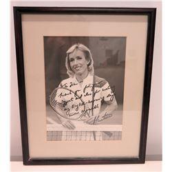 Framed & Autographed Black & White Photograph of Martina Navratilova
