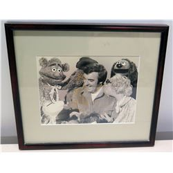Framed Black & White Photograph of Jim Nabors & Muppet Show Characters