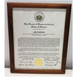 Framed Jim Nabors Hawaii Certificate of Talents w/ Signatures & Gold Seal