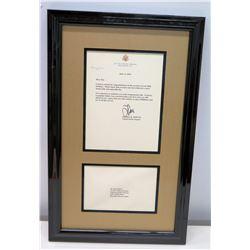 Framed & Signed 80th Birthday Letter from Senator Daniel K. Inouye to Jim Nabors 2010
