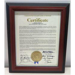 Framed Honolulu Certificate Honoring Jim Nabors w/ Signatures & Seal 2015