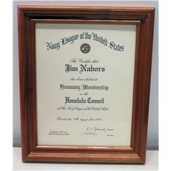 Framed 'Honorary Membership' Certificate of Navy League of the U.S. 2003
