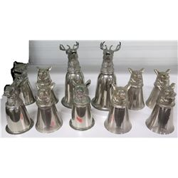 Qty 11 Metal Animal Figurine Drinking Cups