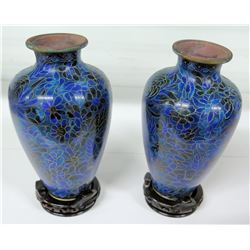 "Pair of Blue Cloisonne Vases w/ Floral Pattern 9""H (Top Dia 3"")"