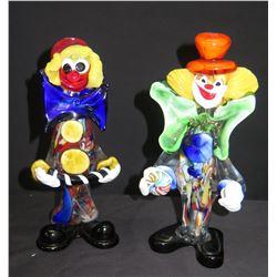 Qty 2 Blown Glass Clown Figurines
