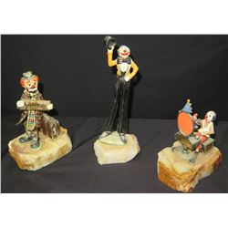 Qty 3 Circus Figurines on Natural Stone Bases, Signed by Artist Ron Lee