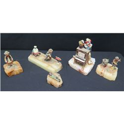 Qty 3 Clown Figurines on Natural Stone Bases, Signed by Artist Ron Lee