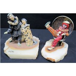 Qty 2 Circus Clown Figurines on Natural Stone Bases, Signed by Artist Ron Lee