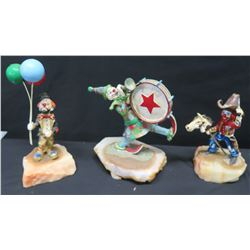 Qty 3 Circus Clown Figurines, on Natural Stone Base, Signed by Artist Ron Lee