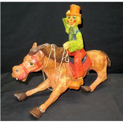 Plaster Clown Cowboy & Horse Figurine