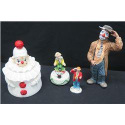 Qty 4 Misc. Ceramic Clown Figurines, Various Sizes